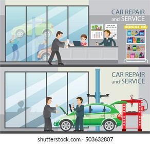 Flat banners depicting of car service station. Customer makes an order for a car repair. Car mechanics are repairing cars that raised on the lift on the background. Vector illustration