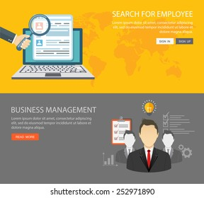 Flat banners set. Search for employee and business management. Eps10