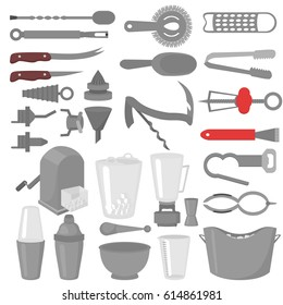 Flat Barmen Mixing, Opening and Garnishing Tools. Bartender equipment Shaker, Opener, Mixing glasses. Ice Buckets, Bottle Pourers, Bar spoon. Isolated instrument icon