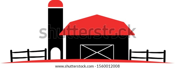 Flat barn design in red and black