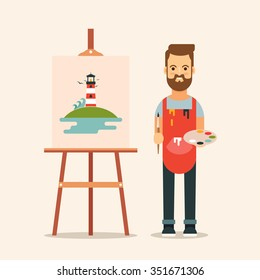 Flat Bearded Artist Standing Near the Easel. Colorful Vector Illustration