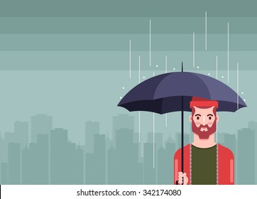 Flat Bearded Hipster with Umbrella Standing Under the Rain. Big City Silhouette on Background. Vector Illustration