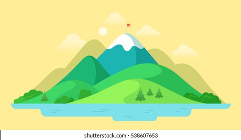 Flat beautiful mountain peak, nature water landscape vector illustration. Summer season vacation concept.