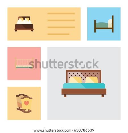 Flat Bed Set Bed Mattress Crib Stock Vector Royalty Free 630786539