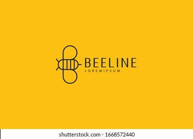 flat bee logo. modern bee honey line design. Vector line art icon template