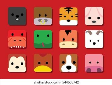 Flat Big Animal Faces Application Cartoon (Chinese Zodiac)