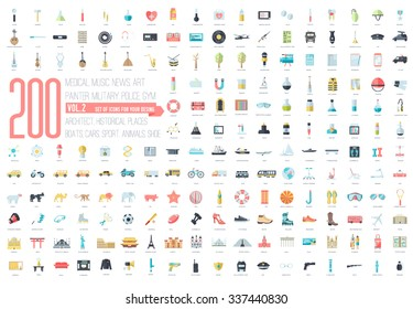 Flat big collection set icons of medical, army, war, shoe, nature, news, draw, police, rafting, room, science, boat, sport, gym, car, animal, summer, tool, country. For infographic illustration design