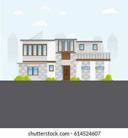 Flat Big Modern House With Windows And Road With Skyscrapers as a Background