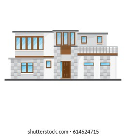 Flat Big Modern House With Windows And Road