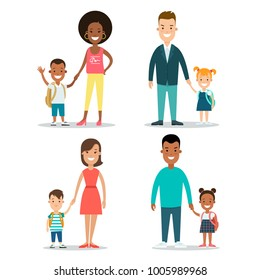 Flat black Family with children vector characters illustration set. Mother father with baby son and daughter. Wife husband, brother and sister. Woman, man, girl, boy. African american parenting.