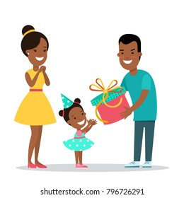 Flat black Family children vector characters illustration. Father gives a gift to daughter child. Man present box to girl on birthday party hat. Mother smiles. Parenting celebration holidays concept.