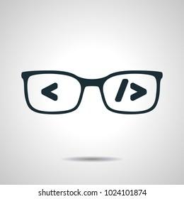 flat black glasses with code. Coder or programmer symbol. Concept of software developer or engineer icon on grey bakground
