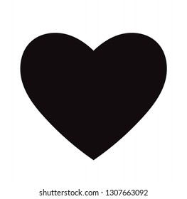 Flat Black Heart Icon Isolated on White Background. Vector illustration.