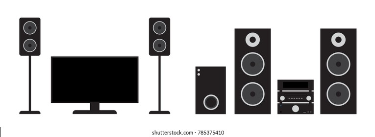 Flat black home cinema and stereo system set. Vector illustration of tv, receiver, subwoofer and speakers.