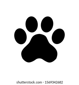 Flat black icon of animal footprint on a white background. Zoo sign.