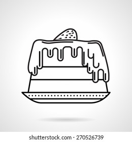 Flat black line vector icon for cake with strawberry on top a side view on white background.