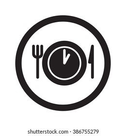 Flat black Lunch Time web icon in circle on white background