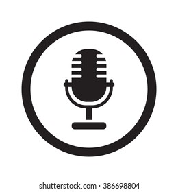Flat black Microphone web icon in circle on white background