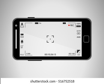Flat black modern mobile phone with focusing screen with settings. Camera recording. Vector illustration
