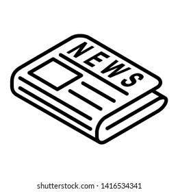 flat black newspaper vector icon
