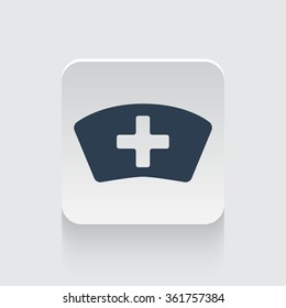 Flat black Nurse icon on rounded square web button