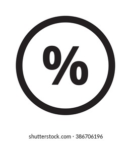 Flat black Percentage web icon in circle on white background