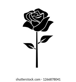 flat black rose in a white background