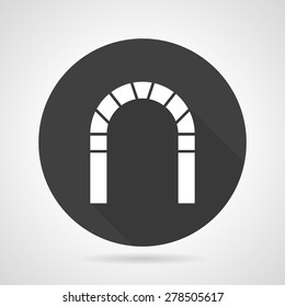 Flat black round vector icon with white silhouette round archway on gray background.