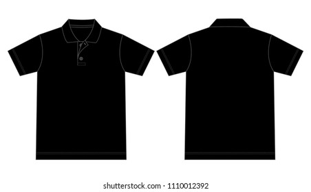 Flat Black Short Sleeves Polo Shirt Vector For Template.Front And Back Views.