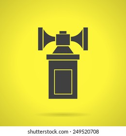 Flat black silhouette vector icon for air horn for self defense or fan on yellow background.