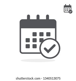 Flat black small and large icon of calendar with chack. Vector illustration.