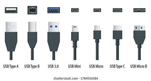 Flat black usb types port plug in cables set with realistic connectors. Connector and ports. USB type A, type B, type C, Micro, Mini, MicroB and type 3.0