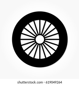 flat black wheel and tire with rim and shadow effect