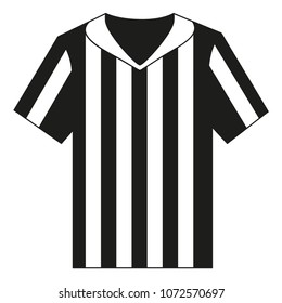 Flat black and white referee shirt. Sport theme vector illustration for icon, sticker sign, patch, certificate badge, gift card, stamp logo, label, poster, web banner, flayer