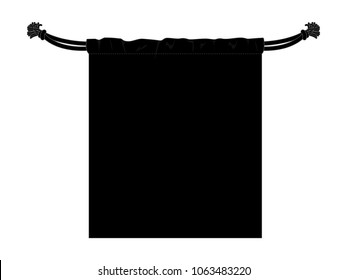 Flat Blank Black Drawstring Bag Vector For Template