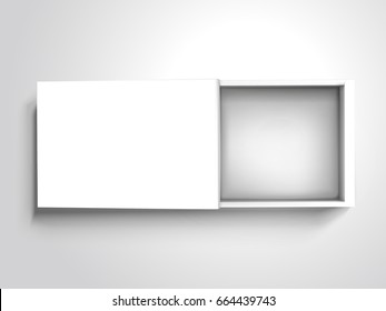 flat blank half open box with separate lid, isolated silver gray background, 3d illustration top view