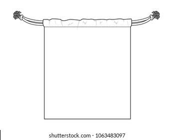 Flat Blank White Drawstring Bag Vector For Template.