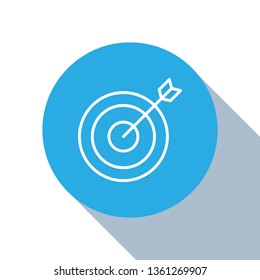 Flat blue circle illustration with long shadow Target vector icon. Dartboard illustration