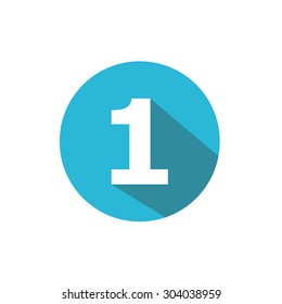 Flat Blue Icon Number , 1