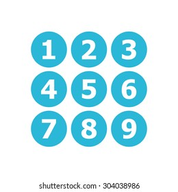 Flat Blue Icon Number , 1-9
