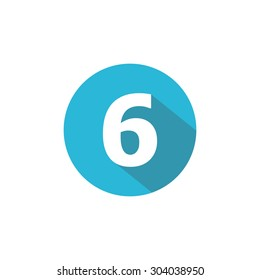 Flat Blue Icon Number , 6