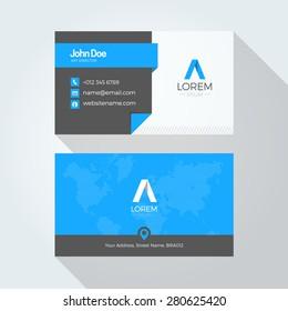 Flat Blue A Letter Logo Business card template