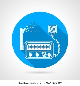 Flat blue round vector icon with white silhouette VHF radio transceiver station with loud speaker on gray background. Long shadow design