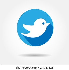 Flat Blue Tweet Bird Vector Logo, JPG, JPEG, EPS.Twitter Icon Button.Flat Social Media Twiter Sign