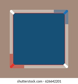 Flat blue wrestling field, boxing ring. Stage with ropes mockup. Vector stadium.  Proportion outline illustration.