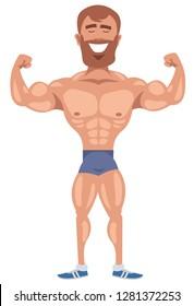 flat bodybuilder with beard