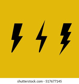 Flat bolt icons isolated on yellow background. Vector illustration.