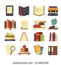 Flat book icons. Library books, open dictionary page and encyclopedia on stand. Pile of paper magazines, ebook globe and novel booklet, publishing vector isolated symbols set