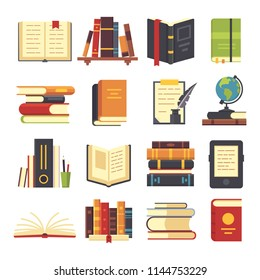 Flat books icons. Magazines with bookmark, history and open or closed textbook science pile of old book stack with globe. Encyclopedia on library shelves vector isolated illustration symbol set