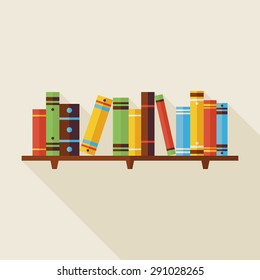Flat Bookshelf Reading Books Illustration with Shadow. Back to School and Education Vector illustration. Flat Style Colorful Books with long Shadow. Library Interior.